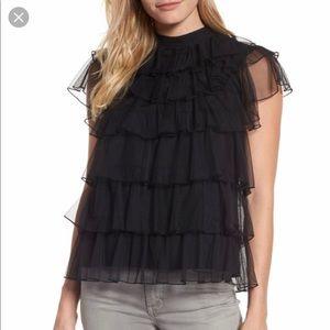 Pleione Tie Back Tiered Mesh Top Size L